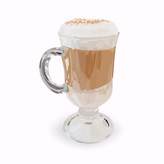 tall glass cup of cappuccino with whipped cream made layers, iso