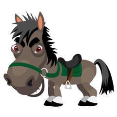 Dark sly stallion, cartoon funny character