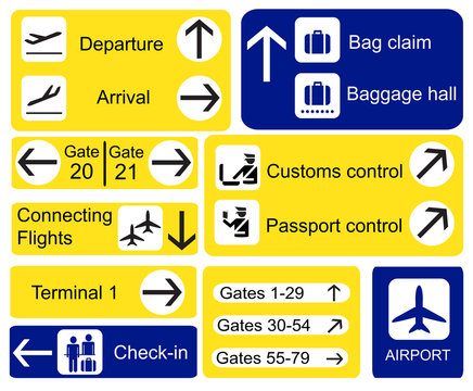 Airport signs. EPS10 vector format