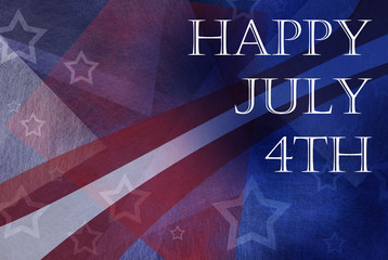 Happy July 4th background design with stripes and stars in red white and blue colors and abstract design