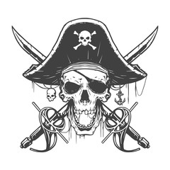 Skull pirate illustration