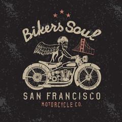 skeleton in helmet on bike and golden gate bridge vector design