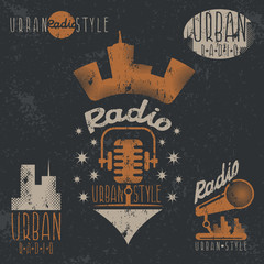 vintage grunge labels of urban radio with microphone and headpho