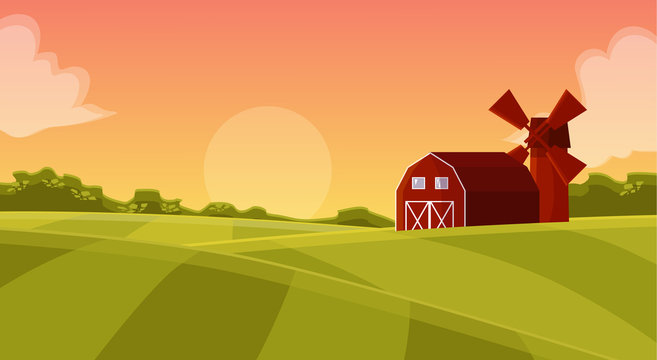 Red hangar at the farmers field to the mill on agricultural land, natural landscape with green field and posevochnym the sunset with a red hangar farm cartoon illustration