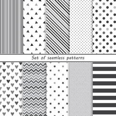 a set of simple monochrome patterns