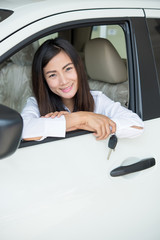 Young Happy Woman Showing The Key Of her New Car