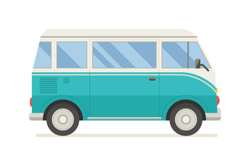 Surfing Tourist Summer Bus Vector Icon