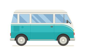 Surfing Tourist Summer Bus Vector Icon
