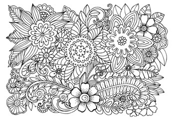 Doodle flowers  adult coloring page
