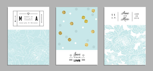 Collection of trendy romantic invitations with flowers and gold glitter texture