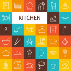 Vector Line Art Kitchenware and Cooking Utensils Icons Set