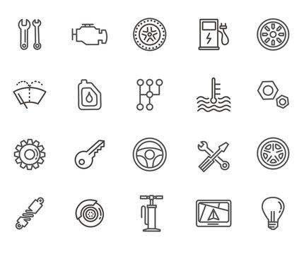 Outline icons. Car parts and services