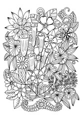 Contrasted adult coloring page with flowers and leaves