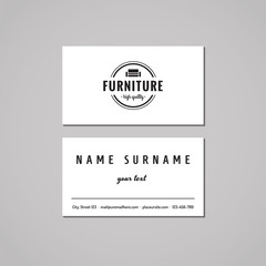 Furniture business card design concept. Furniture logo with couch and circle. Vintage, hipster and retro style. Black and white.