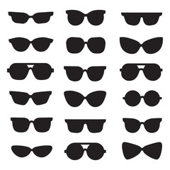Sunglasses black silhouettes vector icons set. Modern minimalistic design.