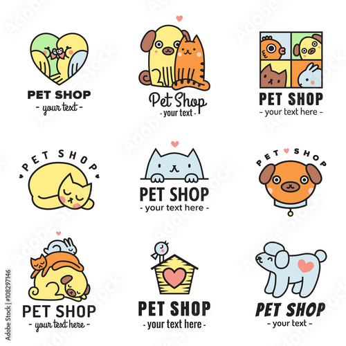 Pet shop cute logos multicolored vector set  Can be used as stickers