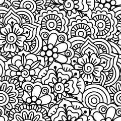 Seamless black and white background. Floral, ethnic, hand drawn elements for design. Good for coloring book for adults or design of wrapping and textile.