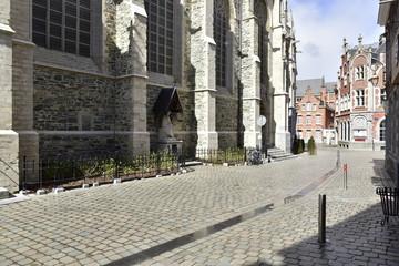Rue piétonnière pavée le long de la basilique St-Martin de Hal
