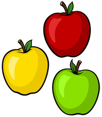 Vector illustration of a variety of cartoon apples.