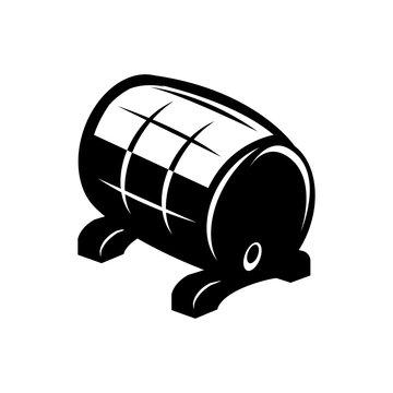 Vector black barrel icon on white background. Barrel sign.