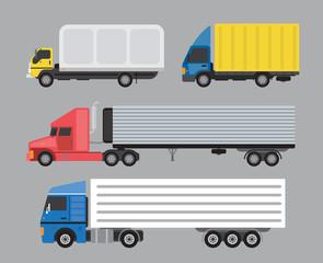 Trucks set. Side view. Cargo transportation. Flat style icons and illustration.