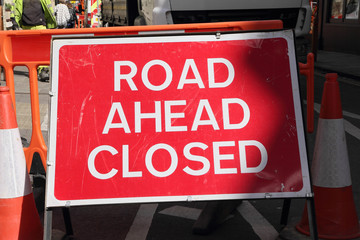 CAMBRIDGE, UK - APRIL 17, 2016:  Continuing development in the city is causing road closures and diversions as illustrated by this 'Road Ahead Closed' sign - Illustrative Editorial
