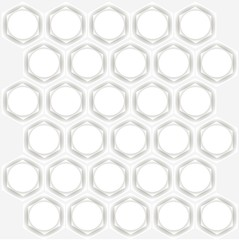Symmetrical abstract background. White hexagons with grey shadows, white circles on light grey, vector