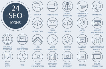 Outline web icons set - Search Engine Optimization