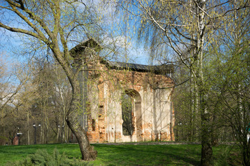The ruins of the chapel in Loshitsa Park, Minsk