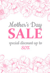 Mother's day sale illustation. Detailed flower drawing. Great banner, poster, flyer for your business