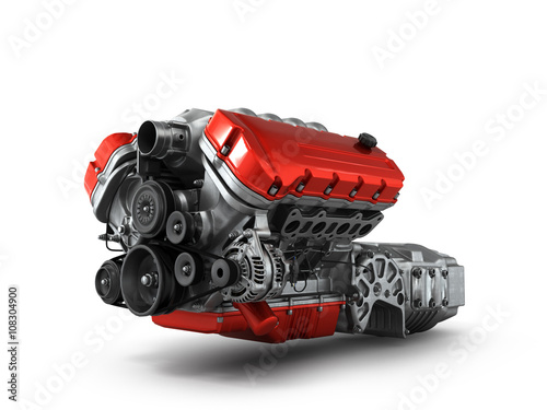 automotive engine gearbox assembly is isolated on a white