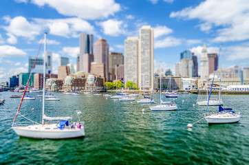 View of the Boston Skyline. Tilt-shift effect applied