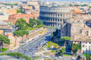 Wall Mural - The Colosseum and the Roman Forum, Rome. Tilt-shift effect applied