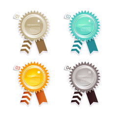 Four colored paper badges with place for your own text.