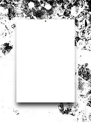 Close-up of one nailed blank frame on black and white weathered wall background