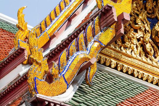 Sculpture mosaic in Royal Palace, Bangkok, Thailand. Wat Phra Keo.