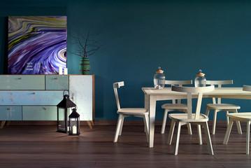Контрастное цветовое сочетание в интерьере на примере обеденной зоны