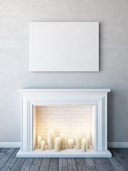 Horizontal poster mock up in neutral white interior with candle fireplace.