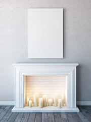 Vertical poster mock up in neutral white interior with candle fireplace.