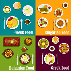 Rustic dishes of Greece and Bulgaria flat icons
