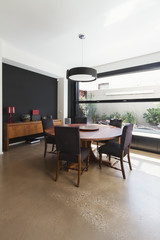 Dining room extension in contemporary architectural home