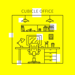 Cubicle office with furniture and equipment (lamp, desktop, table, chair) vector illustration. Individual workplace creative concept. Stylish office interior graphic design.
