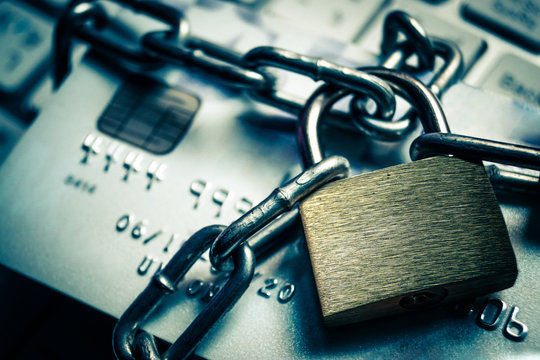 chained credit cards - credit card data encryption protection concept