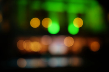 Abstract background of hotel with bokeh defocused lights at night