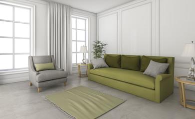 3d rendering green sofa in loft space
