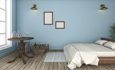 3d rendering beautiful blue wall vintage bedroom