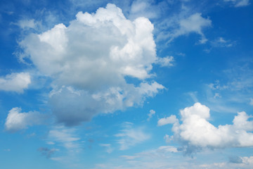 Beautiful cloudscape over horizon. Blue sky and clouds.
