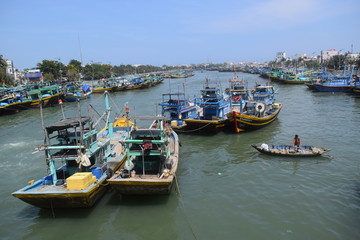 many fishing boat in Vietnam fishing village
