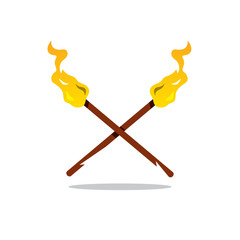Vector Two Torch Cartoon Illustration.