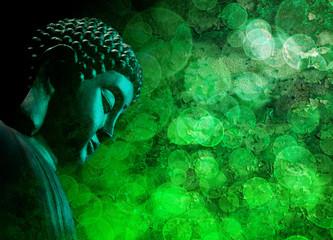 Bronze Green Zen Buddha Statue Meditating